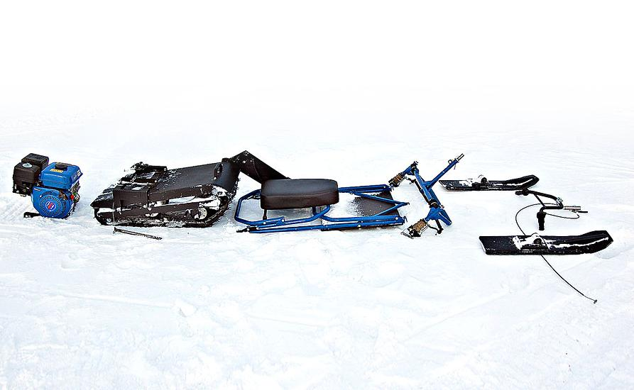 Разобранный мини снегоход