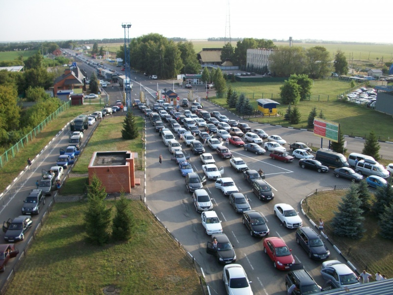 Очередь на российско - украинской границе