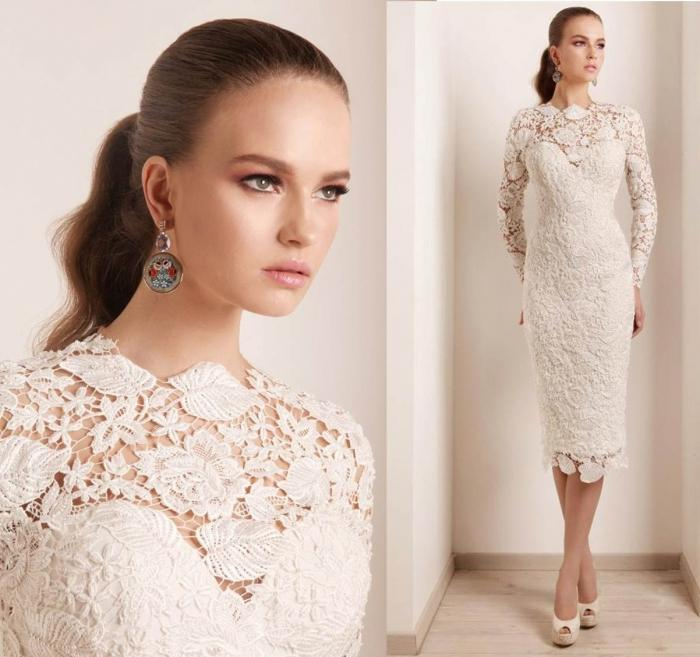 Свадебные белые платья из гипюра и