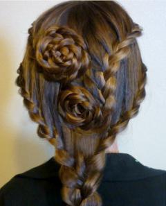 плетение розы из волос