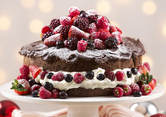 шоколадный с ягодами торт