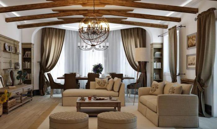 дизайн гостиной в стиле кантри с камином