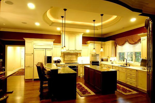 потолки из гипсокартона на кухне дизайн