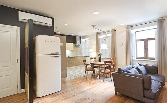 планировка совместить комнату и кухню