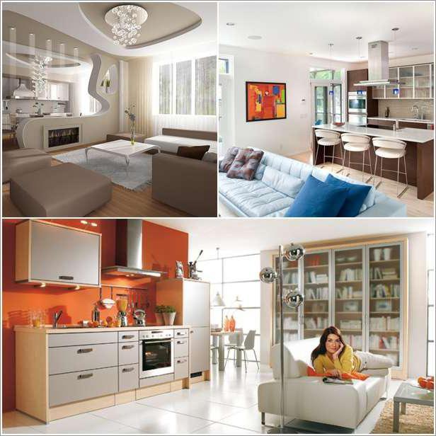 совмещенная комната с кухней
