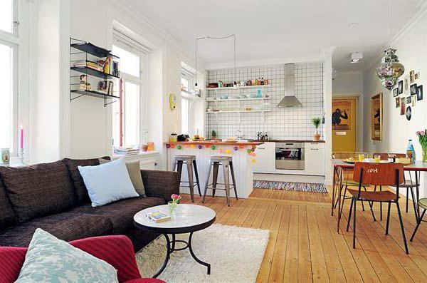 кухня совмещенная с коридором и комнатой