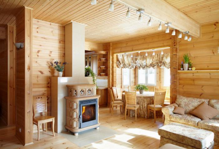 интерьер деревянного дома с камином