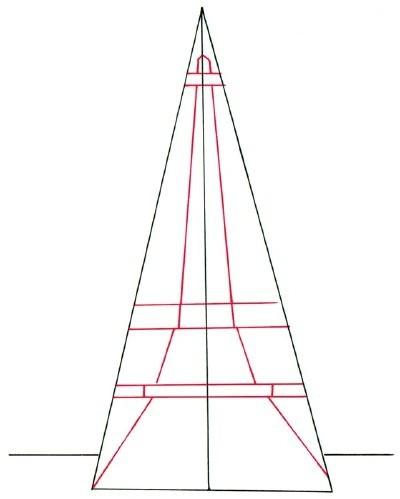 как нарисовать Эйфелеву башню карандашом