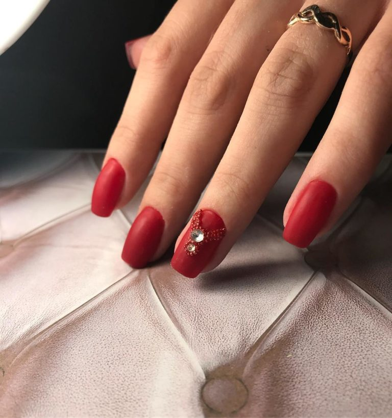 Red with rhinestones