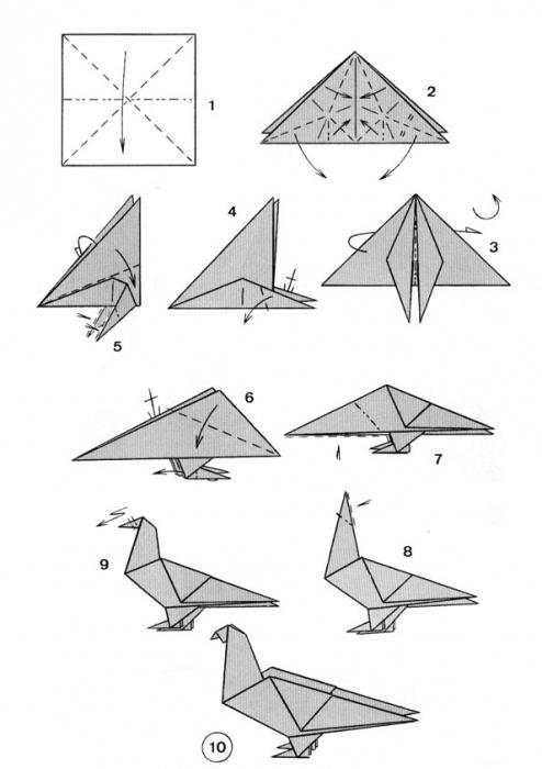 Как делать оригами птичку из бумаги