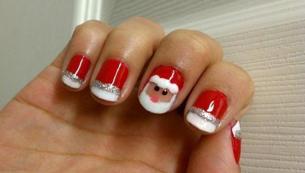 новогодний маникюр гель лаком на короткие ногти