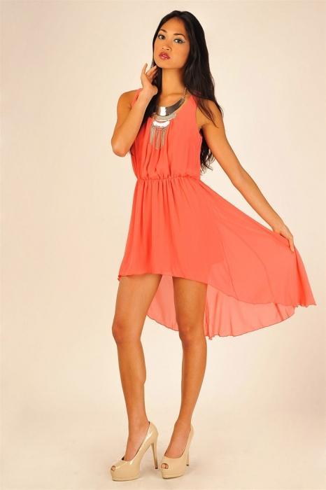 платье кораллового цвета фото: