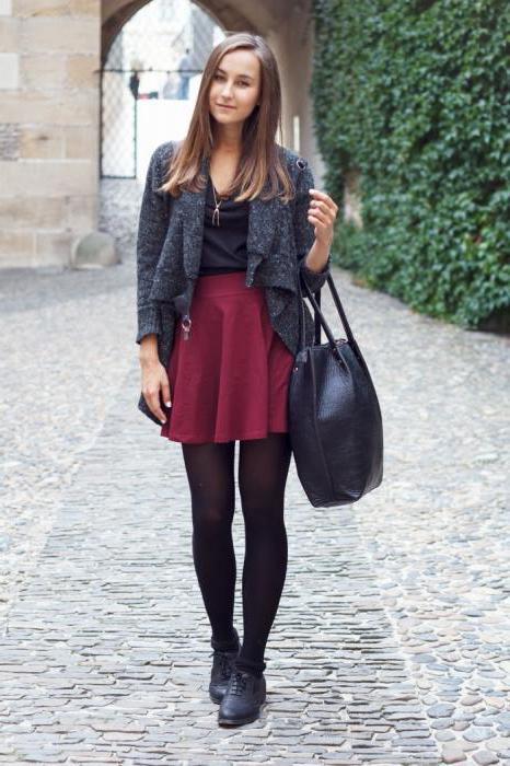 юбка бордового цвета с чем носить