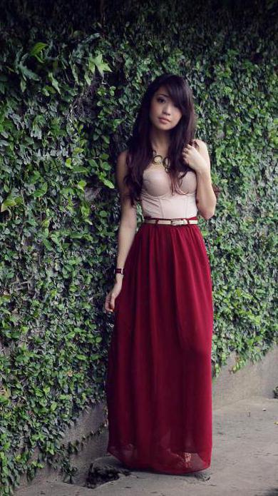 с чем носить бордовую юбку солнце