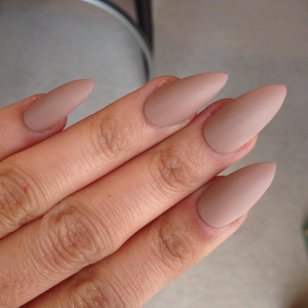 light brown matte manicure