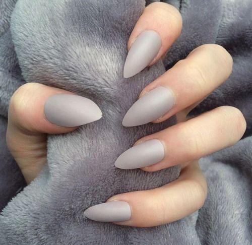 light gray matte manicure