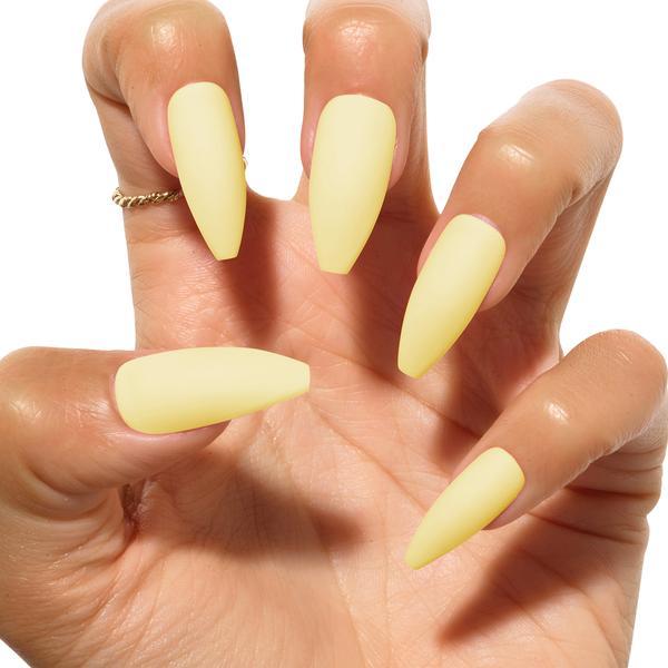 light yellow matte manicure