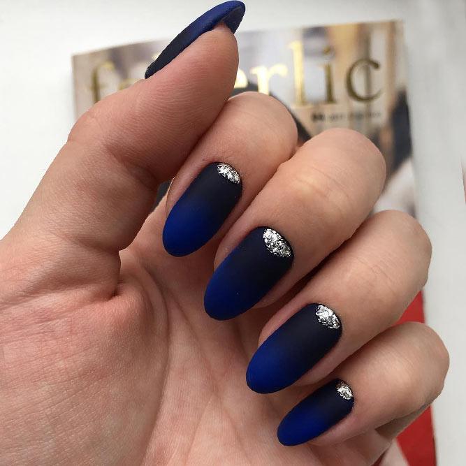 Blue and black matte ombre