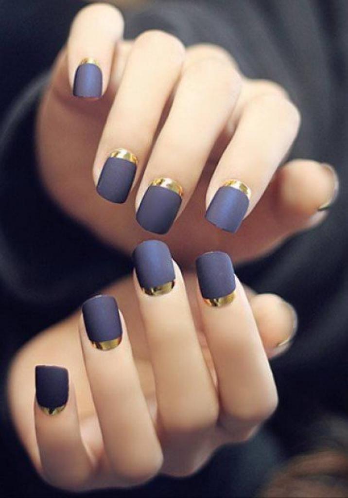 Dark matte manicure with gold