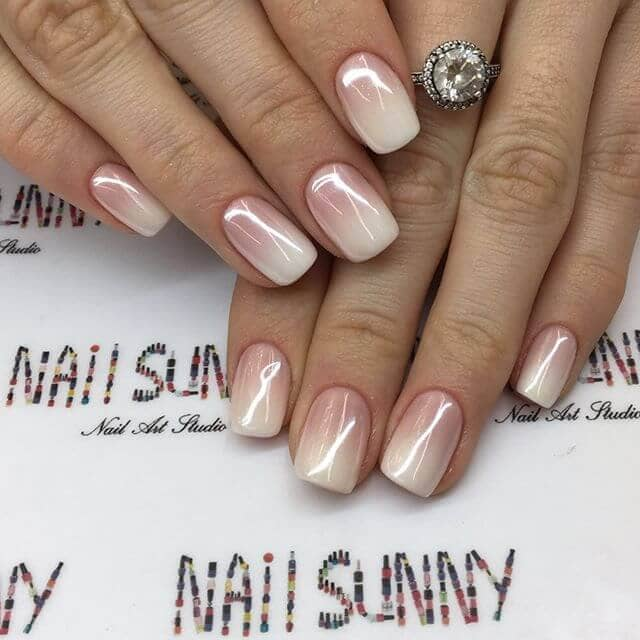 cream ombre on nails