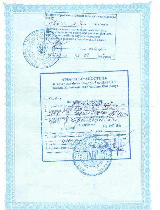 апостиль на украинском свидетельстве о рождении