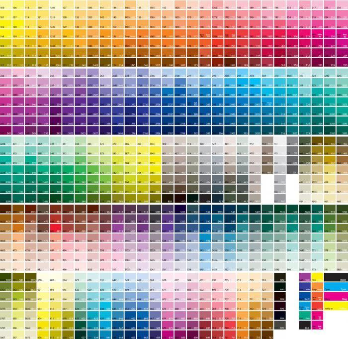 таблица цветов пантон