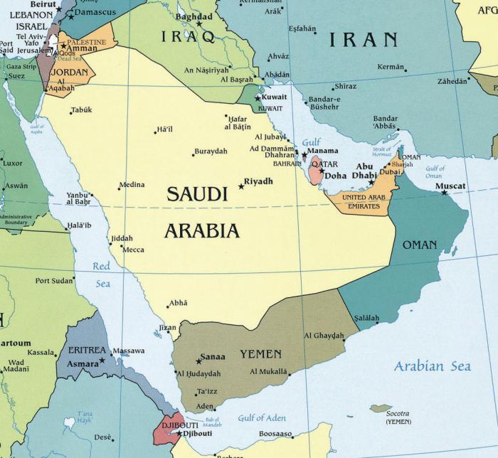 аравийский полуостров карта