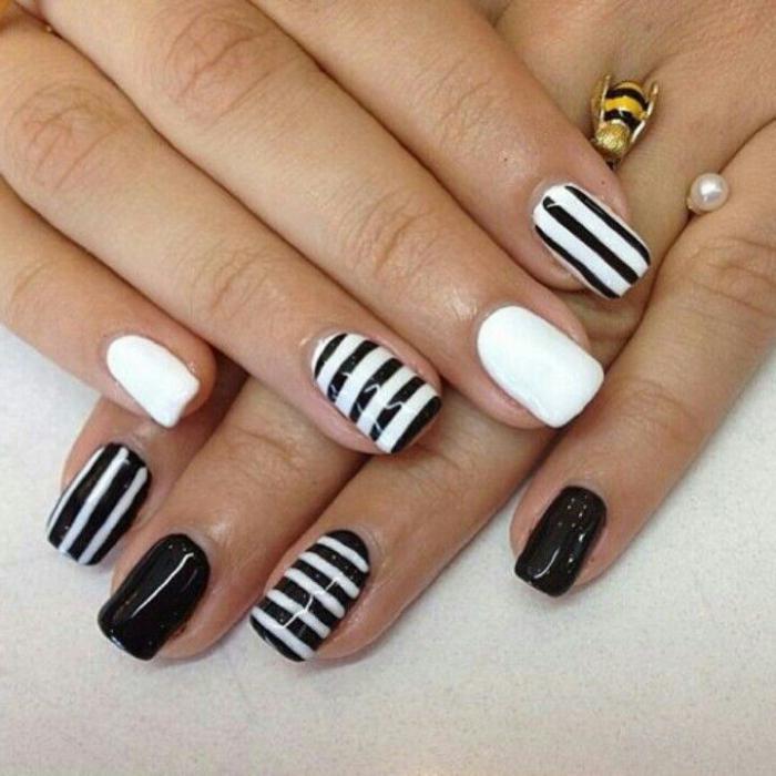 маникюр полоски на ногтях