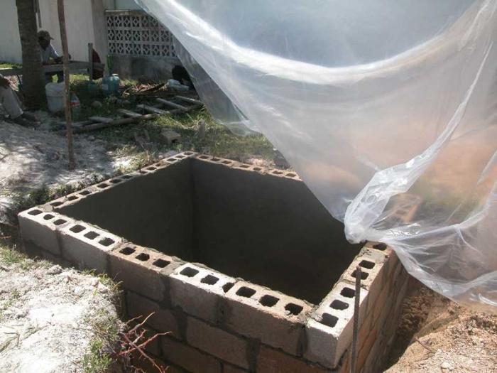 Сливная яма из шлакоблока