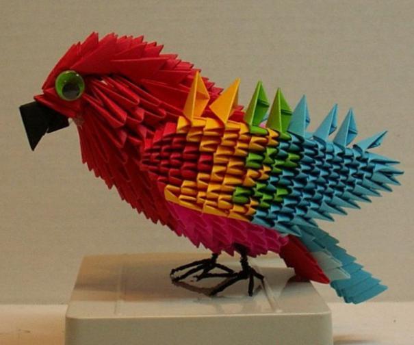 как сделать попугая из бумаги