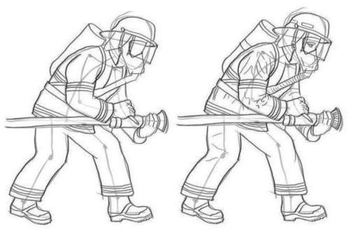 нарисовать пожарника карандашом