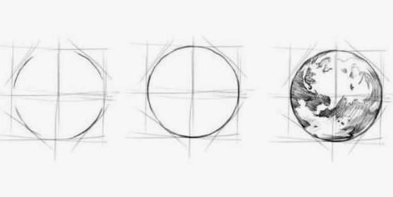 как нарисовать землю карандашом