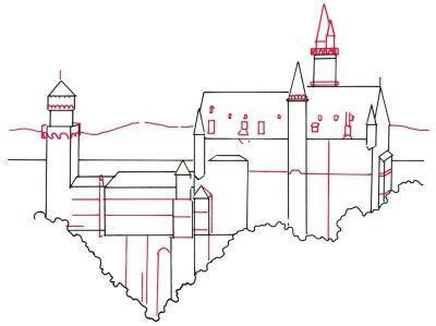 нарисованный карандашом замок