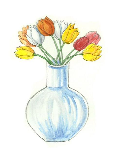 Как рисовать вазу с цветами поэтапно карандашом