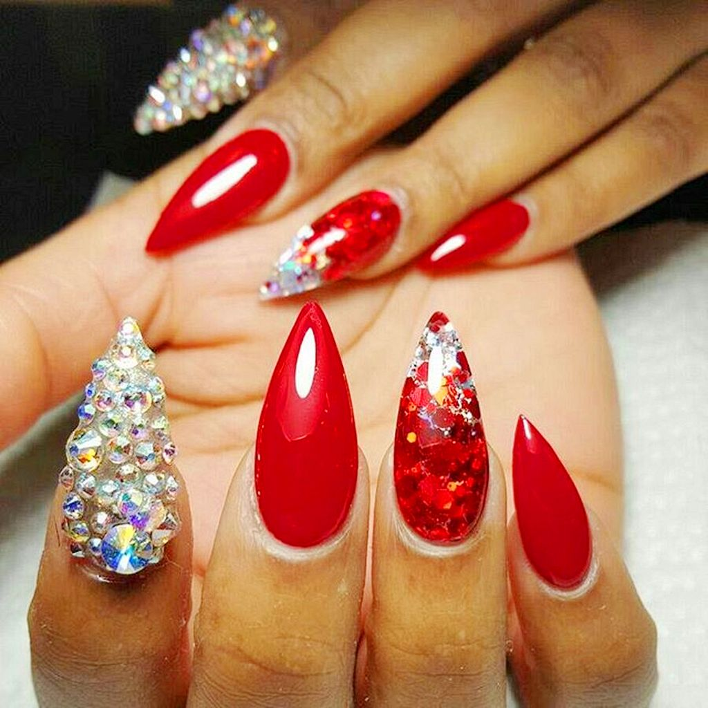a lot of rhinestones on the nail