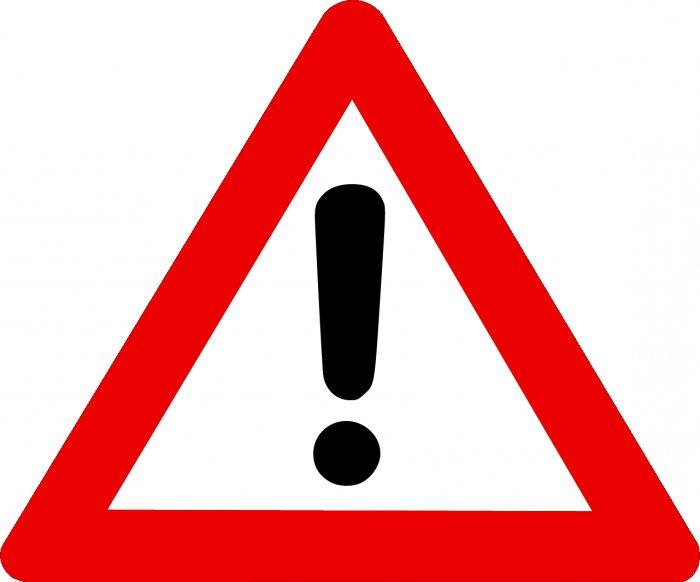 красный треугольник с восклицательным знаком на калине