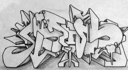 рисунки карандашом граффити буквы