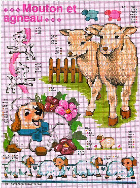 Подборка схем для вышивки крестом овечек и козочек