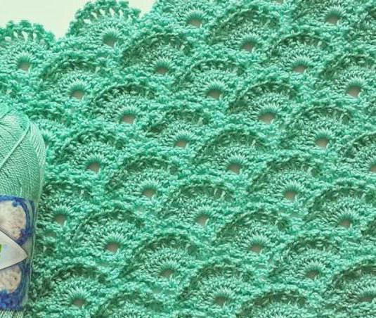 вязание узора чешуйки