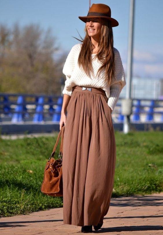 длинная коричневая юбка с джемпером