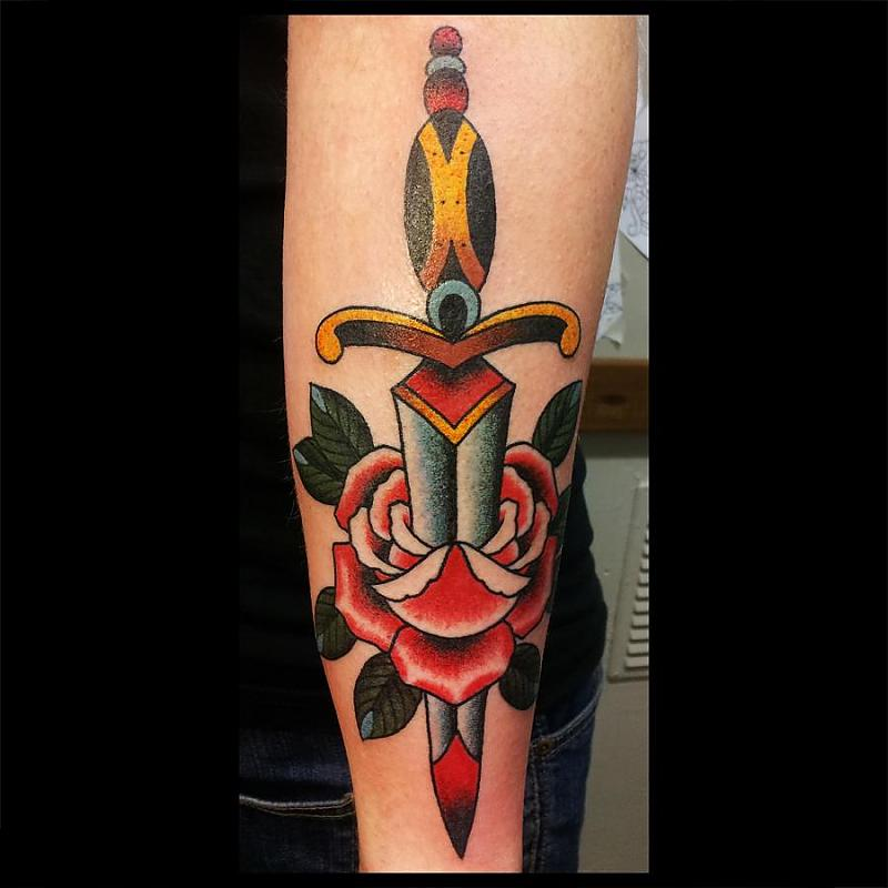 Dagger with a rose
