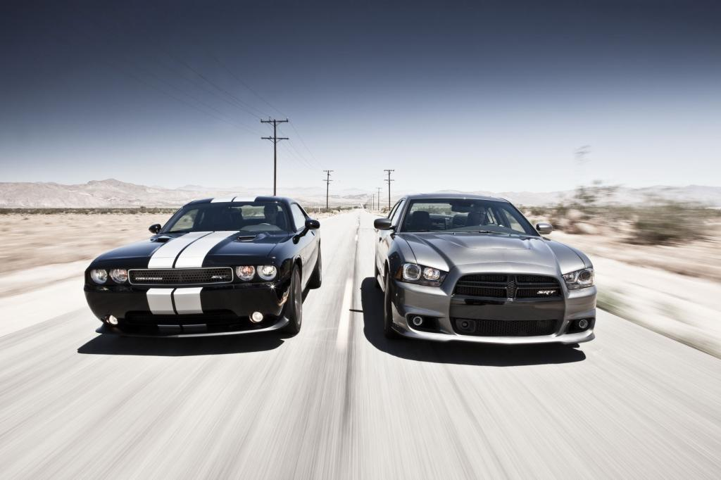 2012 Dodge Challenger (left) and 2012 Dodge Charger (right)