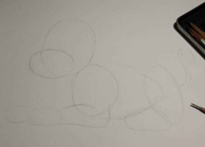 лев нарисованный карандашом
