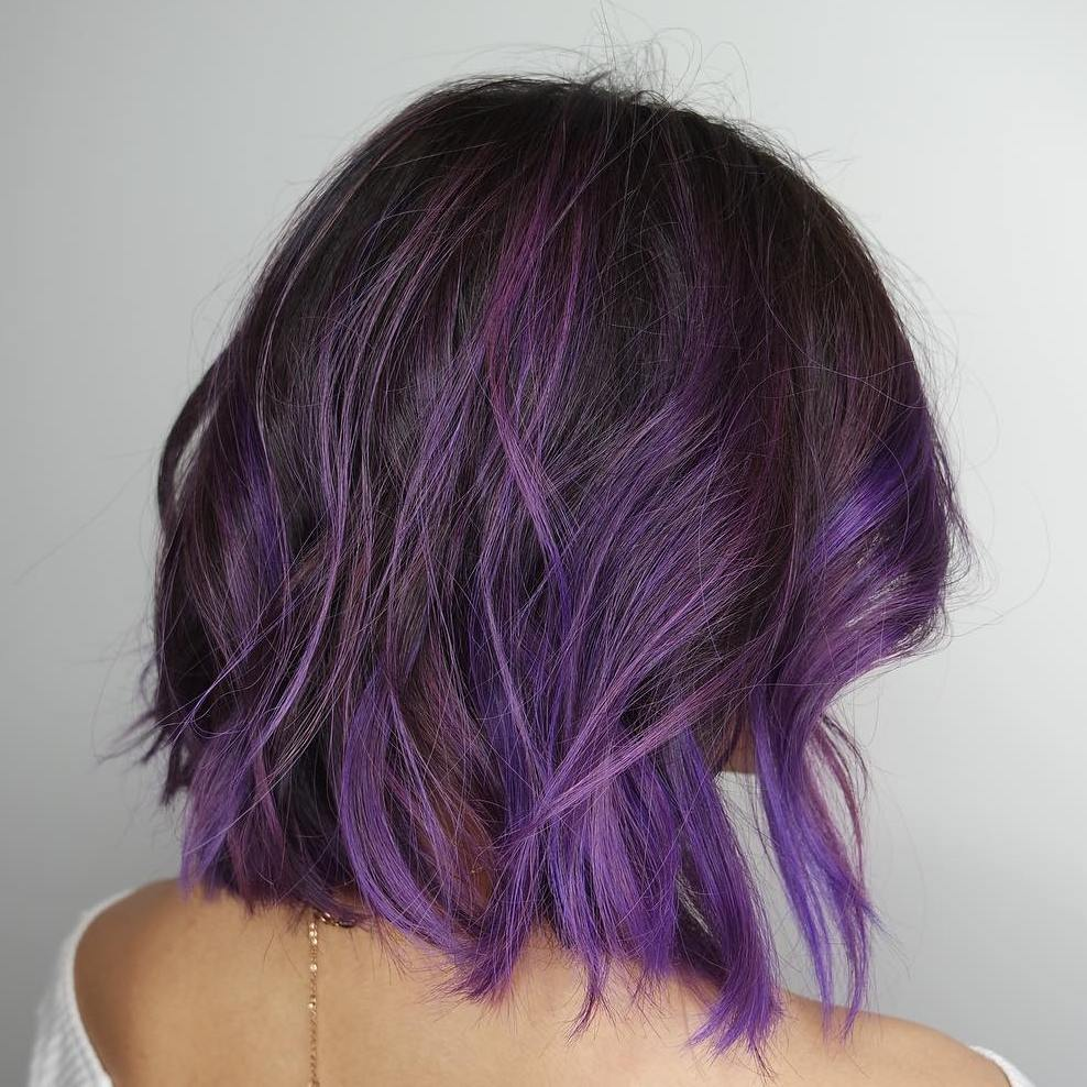 Фиолетовые кончики волос: техника окрашивания, модные тенденции, фото