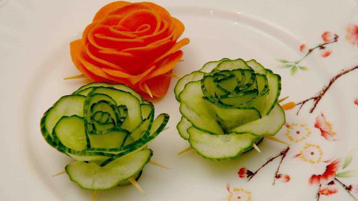 как сделать розочки из огурцов и помидоров