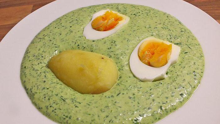 зеленый франкфуртский соус на сметане