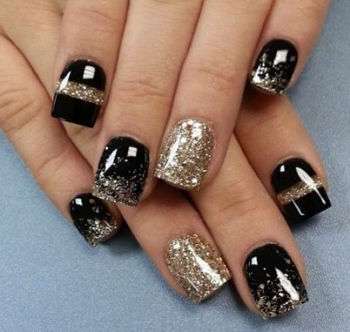 Black manicure with gold