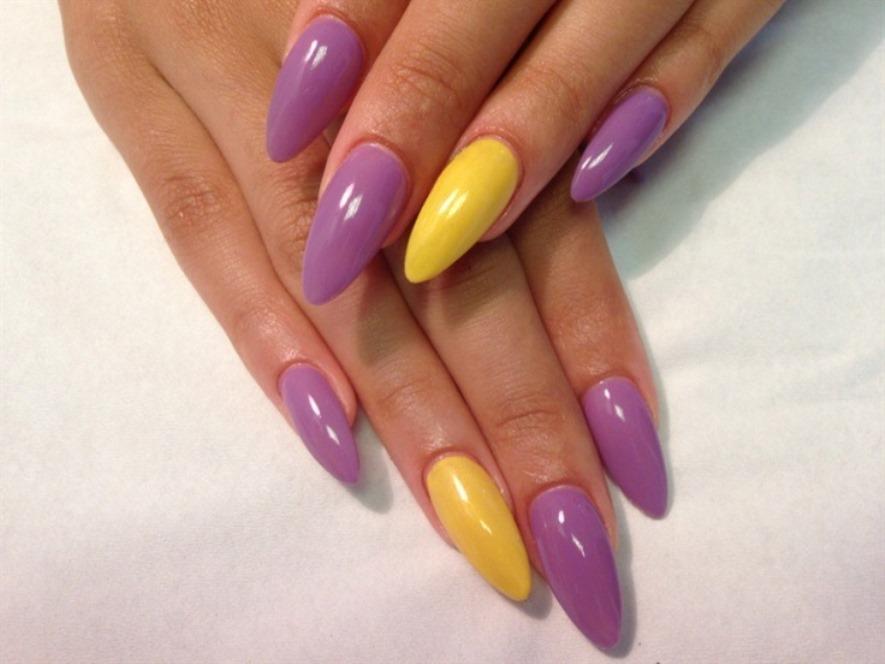 Yellow purple manicure