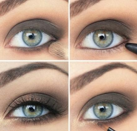 Макияж зелено-серых больших глаз