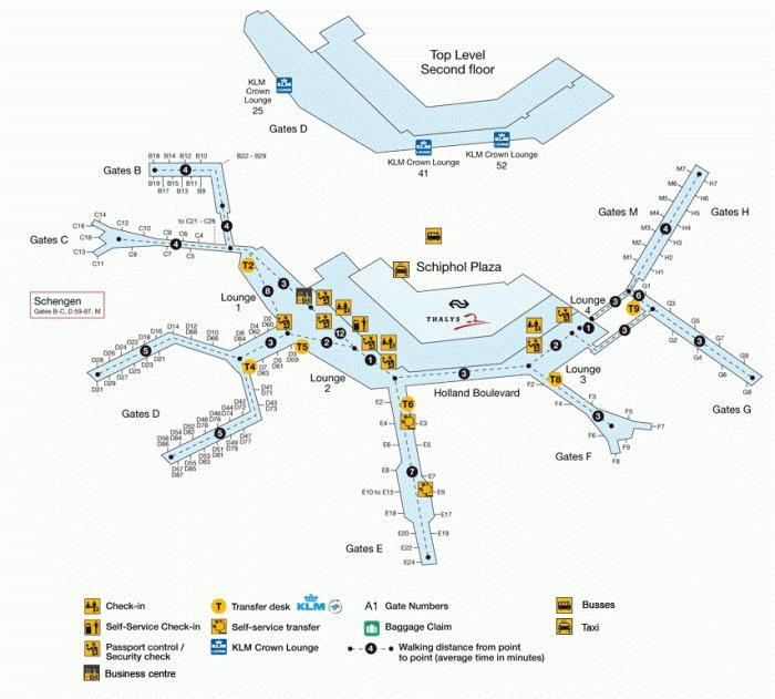 аэропорт Амстердам схема